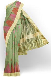 sri kumaran stores linen embroidery saree light green saree with golden border 1