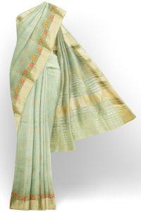 sri kumaran stores linen embroidery saree light green saree with golden border 1 1
