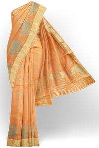 sri kumaran stores linen embroidery saree light orange saree with golden border 1