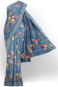 sri kumaran stores linen printed saree blue saree with grey border 1