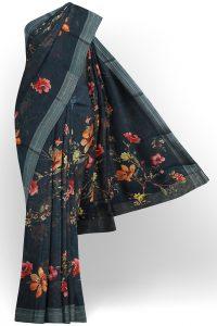sri kumaran stores linen printed saree dark green saree with grey border 1