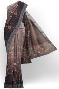 sri kumaran stores linen printed saree faded grey saree with grey border 1