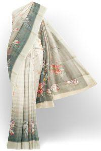 sri kumaran stores linen printed saree faded white saree with white border 1