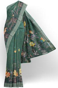 sri kumaran stores linen printed saree green saree with silver border 1