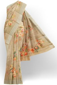 sri kumaran stores linen printed saree half white saree with white border 1