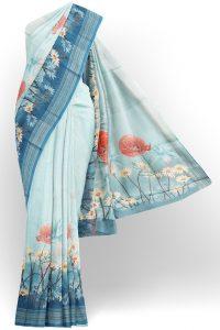 sri kumaran stores linen printed saree light blue saree with blue border 1