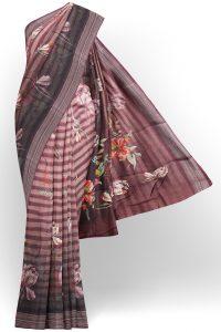 sri kumaran stores linen printed saree light brown saree with brown border 1