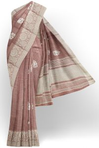 sri kumaran stores linen thread saree light brown saree with white border 1