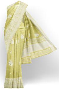 sri kumaran stores linen thread saree light green saree with white border 1
