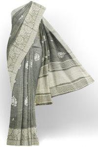 sri kumaran stores linen thread saree light grey saree with white border 1