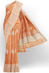 sri kumaran stores linen thread saree light orange saree with white border 1