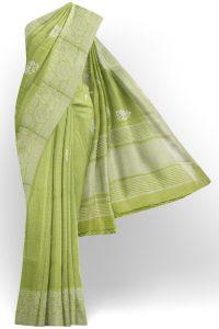 sri kumaran stores linen thread saree pista green saree with white border 1
