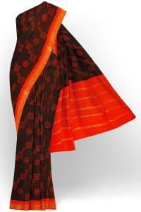 sri kumaran stores madurai cotton brown saree with orange border 1
