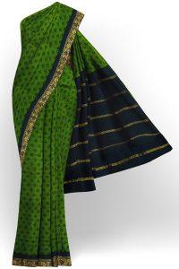sri kumaran stores madurai cotton green saree with green border 1