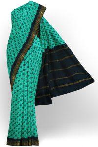sri kumaran stores madurai cotton turquoise blue saree with black border 1