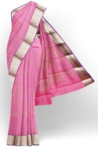 sri kumaran stores semi silk cotton baby pink saree with golden border 1