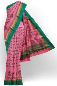sri kumaran stores semi silk cotton baby pink saree with golden green border 1