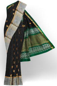 sri kumaran stores semi silk cotton black saree with silver colour border 1