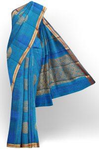 sri kumaran stores semi silk cotton blue saree with golden colour border 1