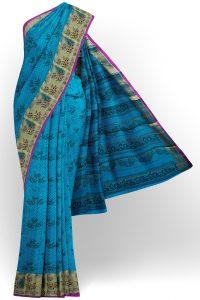 sri kumaran stores semi silk cotton printed blue saree with golden border 1