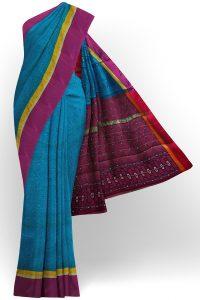 sri kumaran stores semi silk cotton printed blue saree with purple border 1