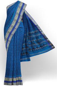 sri kumaran stores semi silk cotton printed dark blue saree with golden border 1