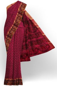sri kumaran stores semi silk cotton printed dark purple saree with floral border 1