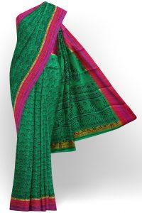 sri kumaran stores semi silk cotton printed green saree with pink red border 1