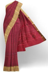 sri kumaran stores semi silk cotton printed light maroon saree with golden border 1