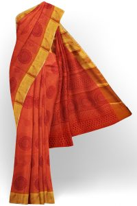 sri kumaran stores semi silk cotton printed orange saree with golden border 1