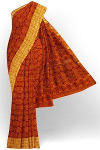 sri kumaran stores semi silk cotton printed orange saree with golden border 1 1