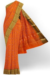 sri kumaran stores semi silk cotton printed orange saree with golden green border 1