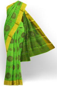 sri kumaran stores semi silk cotton printed parrot green saree with golden border 1