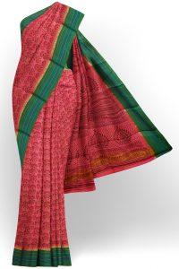 sri kumaran stores semi silk cotton printed pink saree with green border 1
