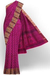 sri kumaran stores semi silk cotton printed purple saree with golden border 1 1