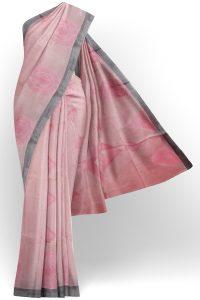 sri kumaran stores semi silk cotton saree baby pink saree with grey border 1