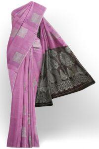 sri kumaran stores semi silk cotton saree baby pink saree with silver border 1