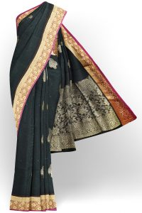 sri kumaran stores semi silk cotton saree black saree with golden red border 1