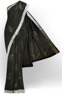 sri kumaran stores semi silk cotton saree black saree with silver border 1
