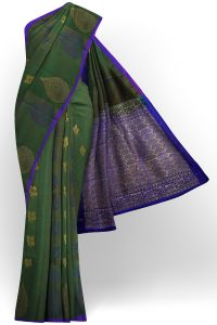 sri kumaran stores semi silk cotton saree dark green saree with purple border 1