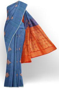 sri kumaran stores silk cotton saree blue saree with blue border 1