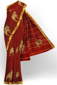 sri kumaran stores silk saree maroon saree with golden border 1