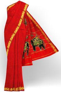 sri kumaran stores silk saree red saree with golden border 1