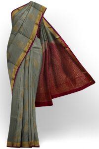 sri kumaran stores soft silk grey saree with golden border 1