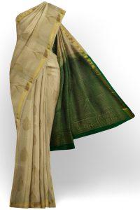 sri kumaran stores soft silk half white saree with golden border 1