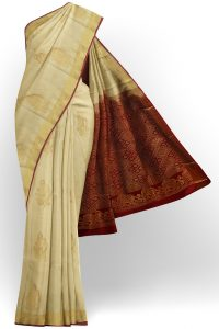 sri kumaran stores soft silk half white saree with golden brown border 1