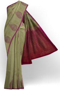sri kumaran stores soft silk light green saree with purple border 1
