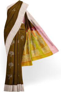sri kumaran stores soft silk saree brown saree with white border 1