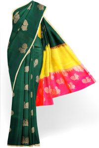 sri kumaran stores soft silk saree dark green saree with golden border 1