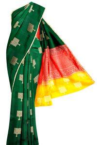 sri kumaran stores soft silk saree dark green saree with golden border 1 1